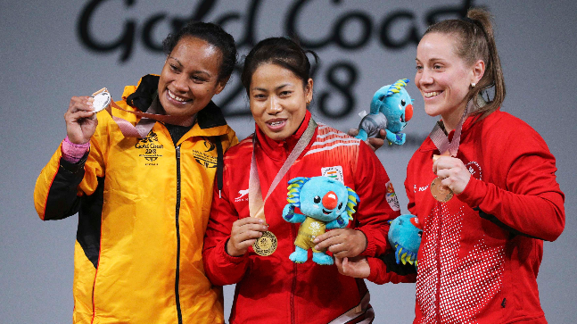 Sanjita Chanu wins gold medal in woman's 53 kg category at the Gold Coast Commonwealth Games
