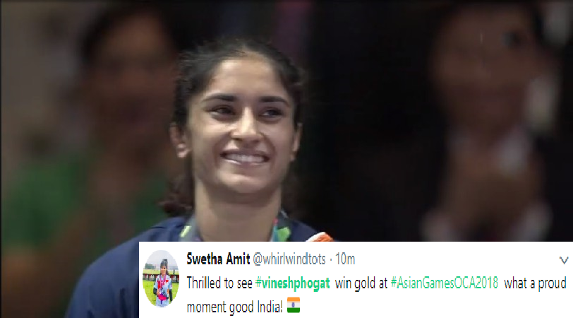 Asian Games 2018: Best reactions after Vinesh Phogat wins gold in women's 50kg freestyle wrestling