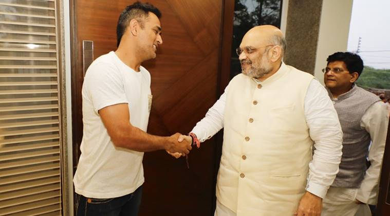 BJP President Amit Shah meets MS Dhoni in Delhi. Watch photos- Digitalsporty