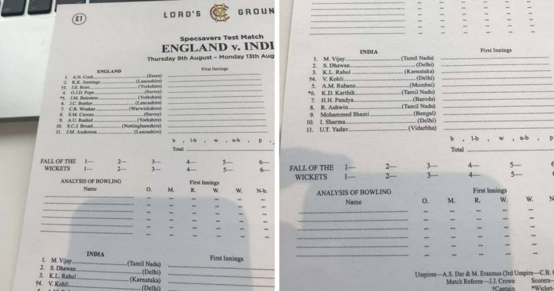 Playing 11 of India and England leaked for second test at Lords