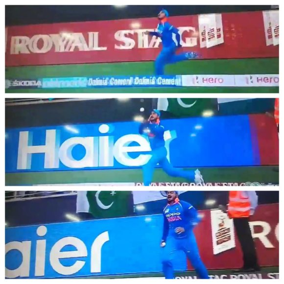 Watch: Manish Pandey pull-off a spectacular catch to send Sarfraz Ahmed packing