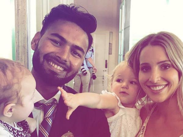 "In pics: Rishabh Pant finally does ""babysitting"" for Tim Paine's kids"