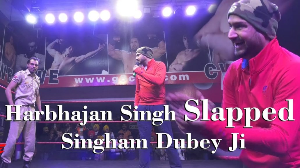 "Watch: Harbhajan Singh slaps Indian wrestler from Great Khali's academy named ""Dubey ji"""
