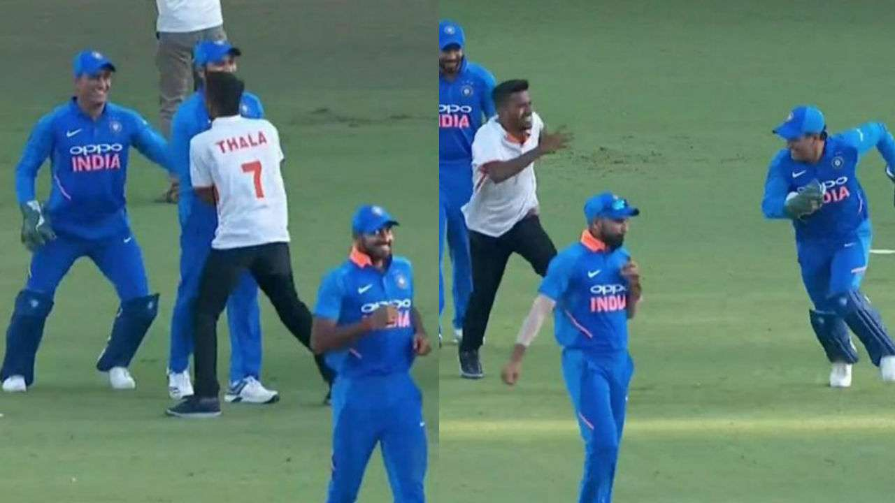 "Watch: MS Dhoni plays ""pakdam pakdai"" with fan before start of Australia's innings in Nagpur"