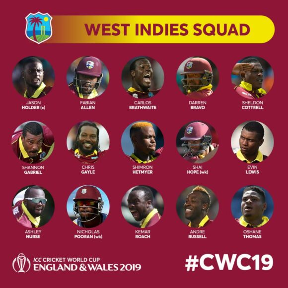 West Indies squad for 2019 World cup announced, two veteran hard hitters included