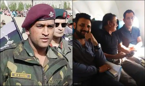 Exclusive pictures of MS Dhoni in Kashmir bound flight to join Indian army