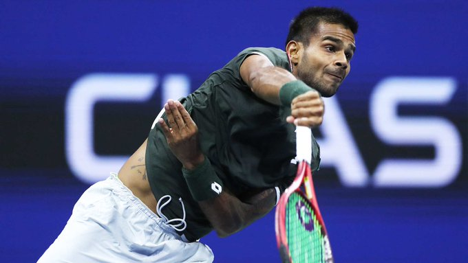 US Open 2019: Sumit Nagal's reaction after he wins the first set against Roger Federer