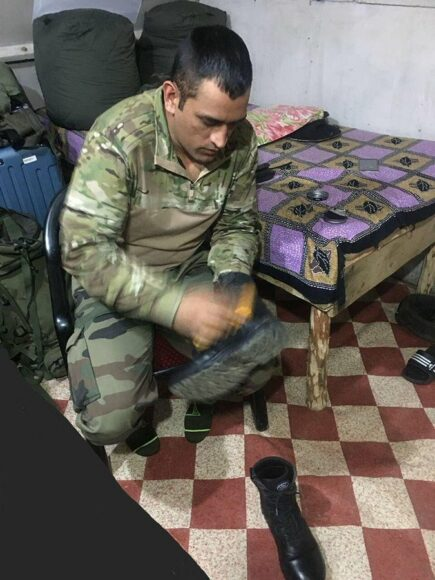 In pic: Lieutenant Colonel MS Dhoni polishes shoes in his Army Battalion camp is heartwarming