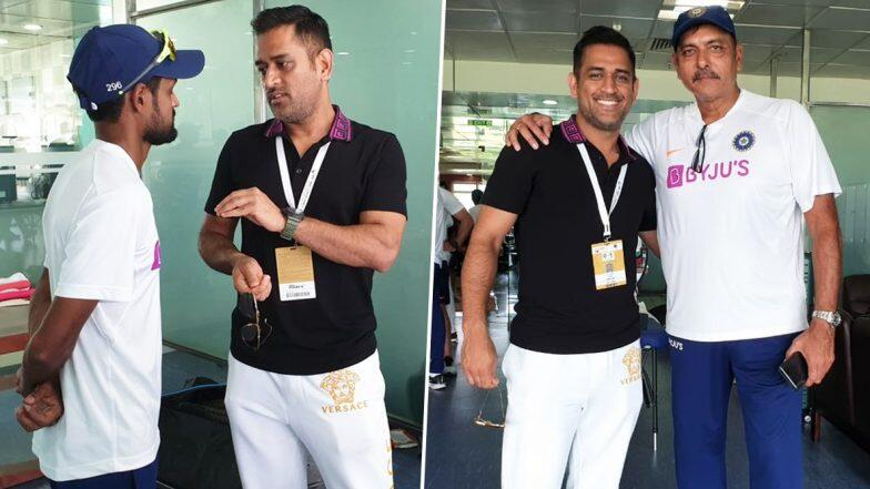 MS Dhoni spotted in the Indian dressing room for the first time since World Cup
