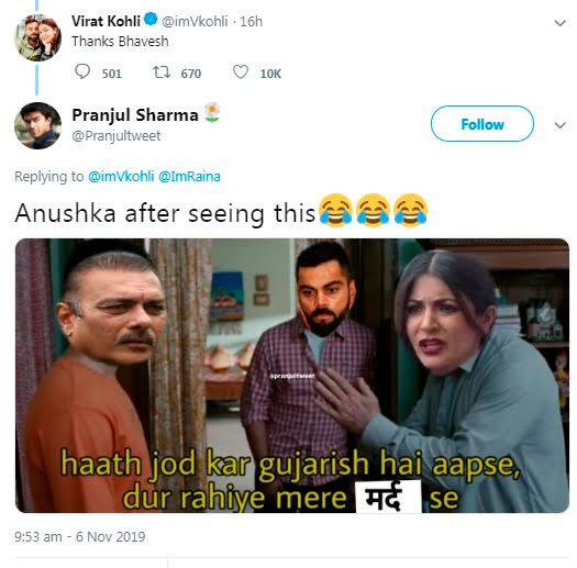 "Fans troll Virat Kohli for drinking with Ravi Shastri after he refers Suresh Raina as ""Bhavesh"""