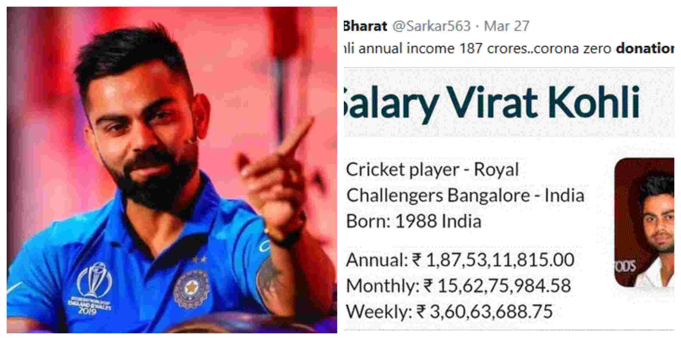 Fans question the role of Virat Kohli in country's fight against coronavirus